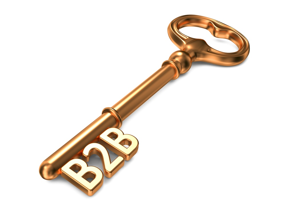 B2B - Golden Key on White Background. 3D Render. Business Concept..jpeg